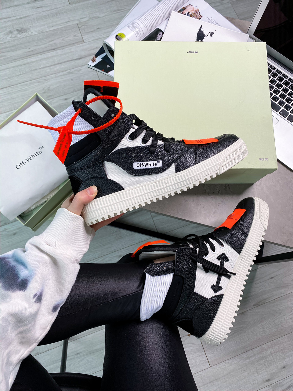 """Кроссовки Off-White Low 3.0 leather high top """"Black/White"""""""