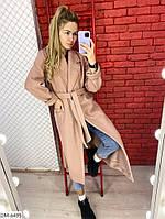 Женское длинное кашемировое пальто на запах