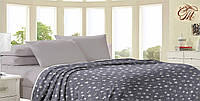 Плед из флиса со звёздами, серый. Покрывало на кровать. В размерах -160*210 200*220 220*240