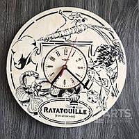"""Бесшумные детские настенные часы из дерева """"Рататуй"""""""