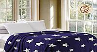 Синий плед из флиса со звёздами. Мягкое покрывало на кровать. Размеры - 160*210 200*220 220*240