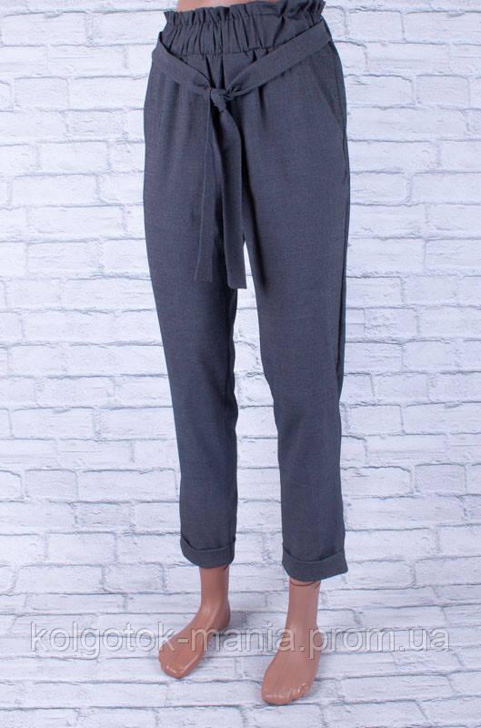 Классические женские брюки с поясом серые
