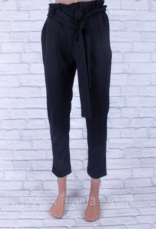 Классические женские брюки с поясом тёмно-серые