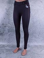 Лосины, Леггинсы женские на флисе со вставками чёрные