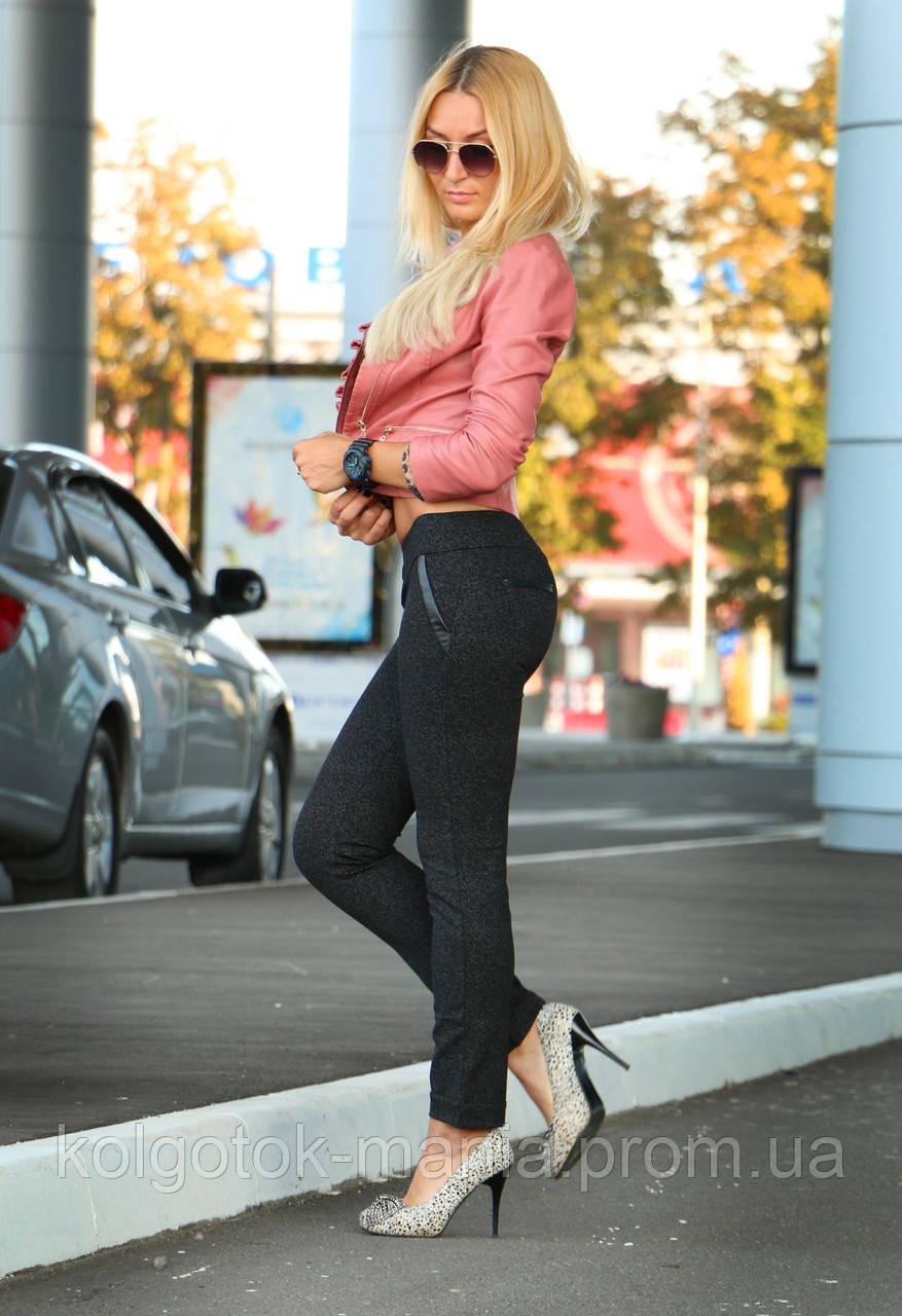 """Лосины женские чёрные с кожаными вставками """"Натали"""""""