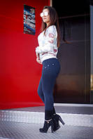 """Лосины женские на флисе синие """"Карина"""" арт.5504, фото 1"""