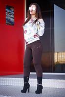 """Лосины женские на флисе коричневые """"Карина"""" арт.5504, фото 1"""