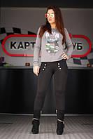 """Лосины женские на флисе черные """"Жасмин"""" арт.5511, фото 1"""