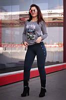 """Лосины женские на флисе синие """"Кантри"""" арт.5512, фото 1"""