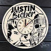 """Концептуальные настенные часы из дерева """"Justin Bieber"""""""