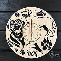 """Оригинальные часы настенные из дерева """"Собака - друг человека"""""""