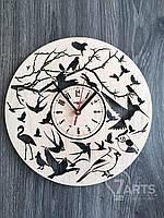 """Круглые настенные часы из дерева """"Птички"""""""