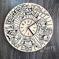 """Круглые оригинальные настенные часы из дерева """"Черепашки-ниндзя"""""""