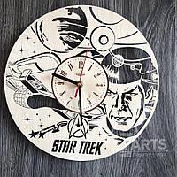 """Бесшумные настенные часы из дерева """"Звездный путь"""""""