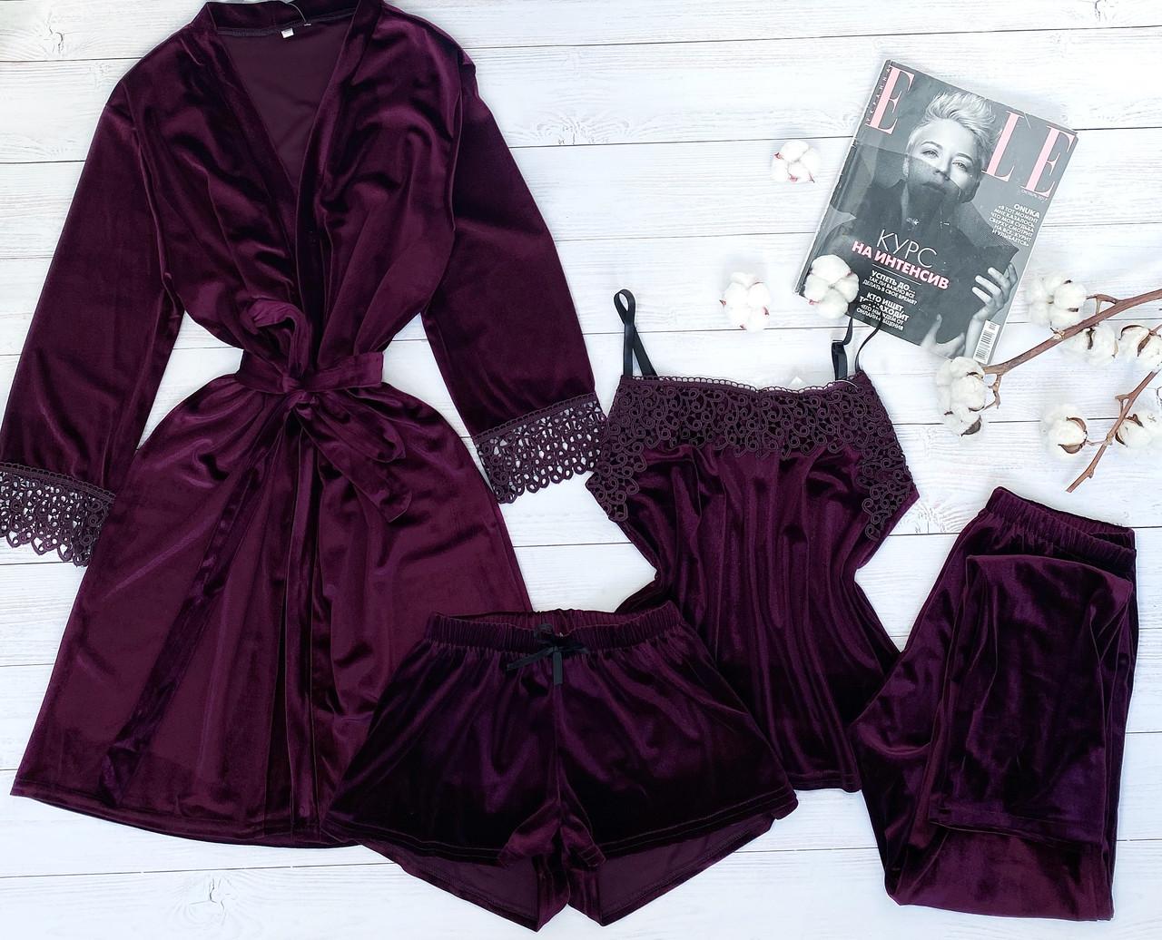 Женский велюровый халат  S-M сливовый