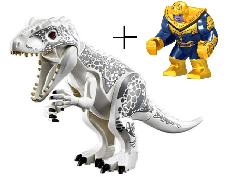 Динозавр Индоминус Длина 29 см с большой фигуркой Таноса Конструктор аналог лего