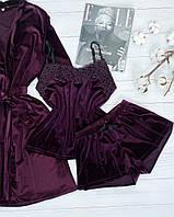 Велюровая пижама шорты и майка XL сливовый