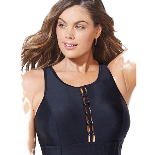 Купальник женский слитный утягивающий с вставкой на груди батал, черный
