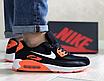 Мужские кроссовки Nike Air Max 90 Найк Аир Макс черно-белые с оранжевым, фото 3