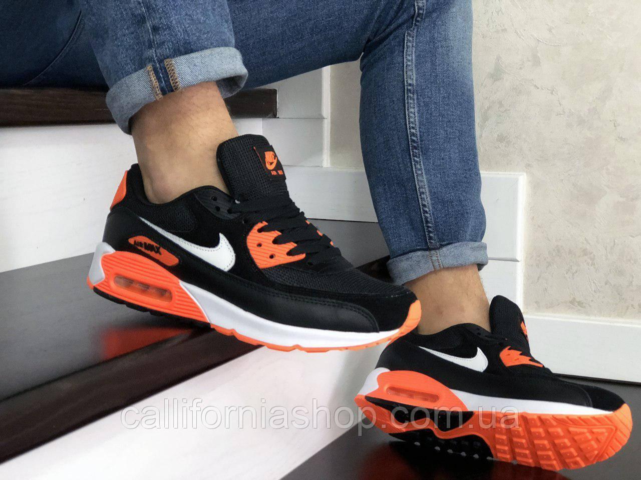 Мужские кроссовки Nike Air Max 90 Найк Аир Макс черно-белые с оранжевым