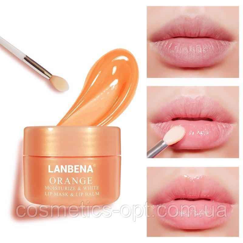 Ультрапитательная ночная маска-бальзам для губ Lanbena Orange Lip Mask & Lip Balm, 20 г