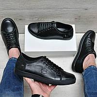 Кожаные мужские туфли в стиле Philipp Plein черные, фото 1