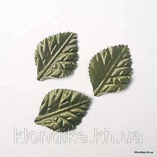 Листик тканевой, 3.5×2.5 см, Цвет: Зеленый (50 шт.)