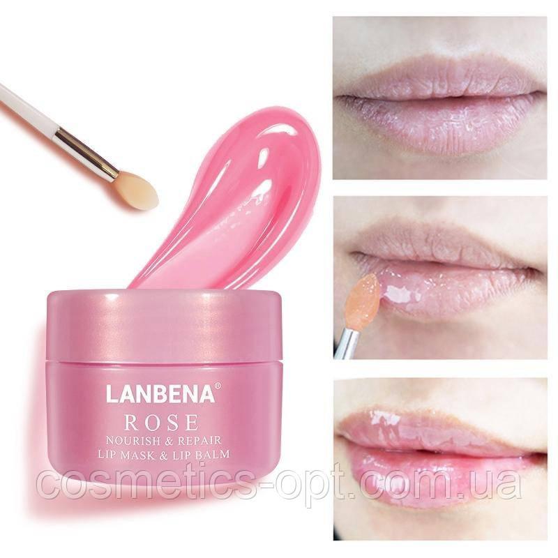 Ультрапитательная ночная маска-бальзам для губ Lanbena Rose Lip Mask & Lip Balm, 20 г