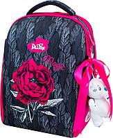 Ортопедический школьный рюкзак (ранец) с мешком и пеналом серый для девочек Delune с Цветами для младших классов 37х28х17 см (7-149)