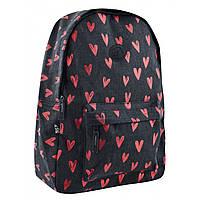 Молодежный городской подростковый рюкзак черный с красным для девушек  YES ST-18 Great Love в старшую школу