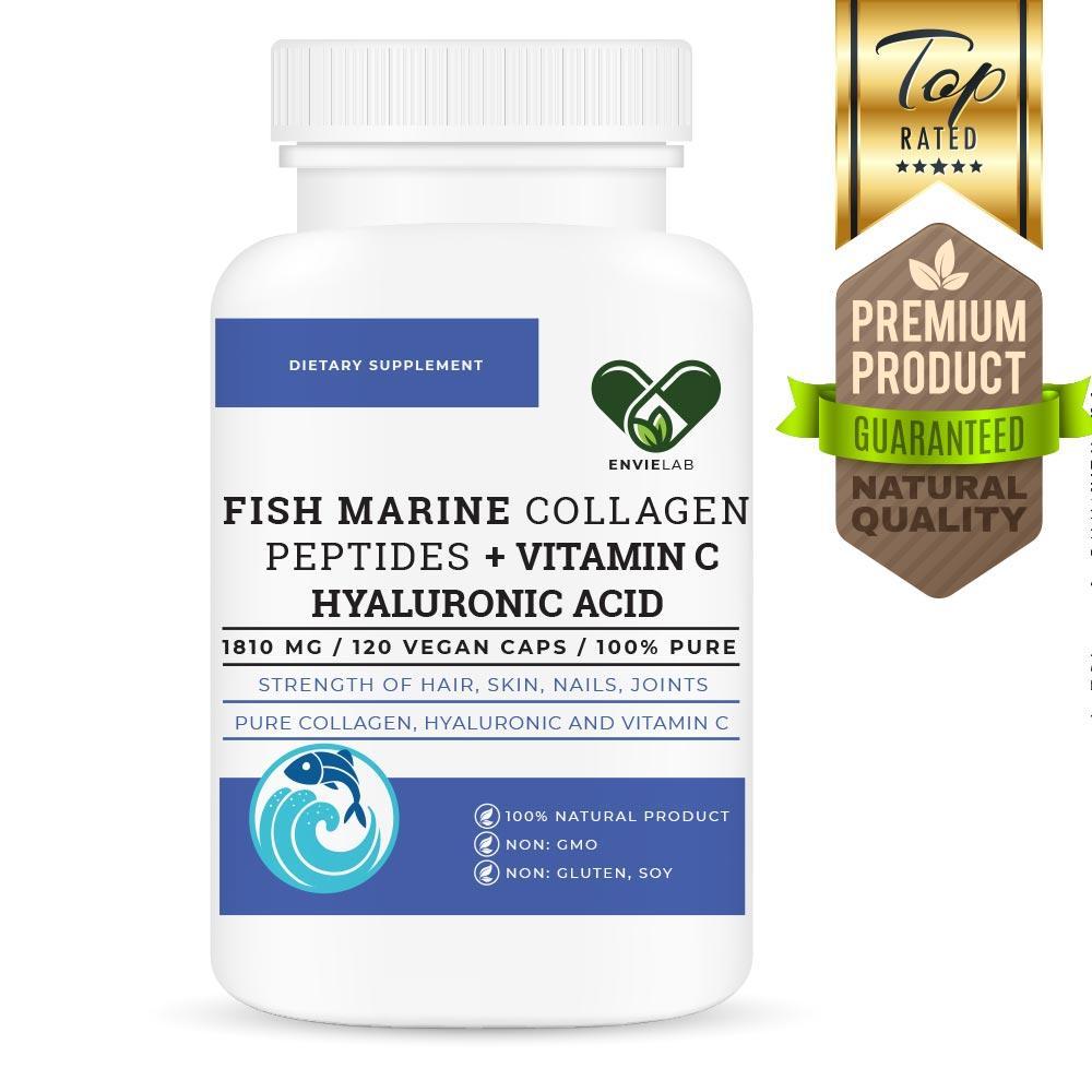 Морской коллаген с гиалуроновой кислотой + Витамин С коллаген РЫБИЙ для суставов и связок, En`vie Lab