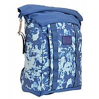 Подростковый городской рюкзак синий для девушек YES Roll-top T-61 Summer flowers для 7 - 11 класса (557307)