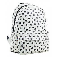 Городской молодежный подростковый рюкзак белый для девушек YES ST-28 Black dots для 7 - 11 класса (554968)