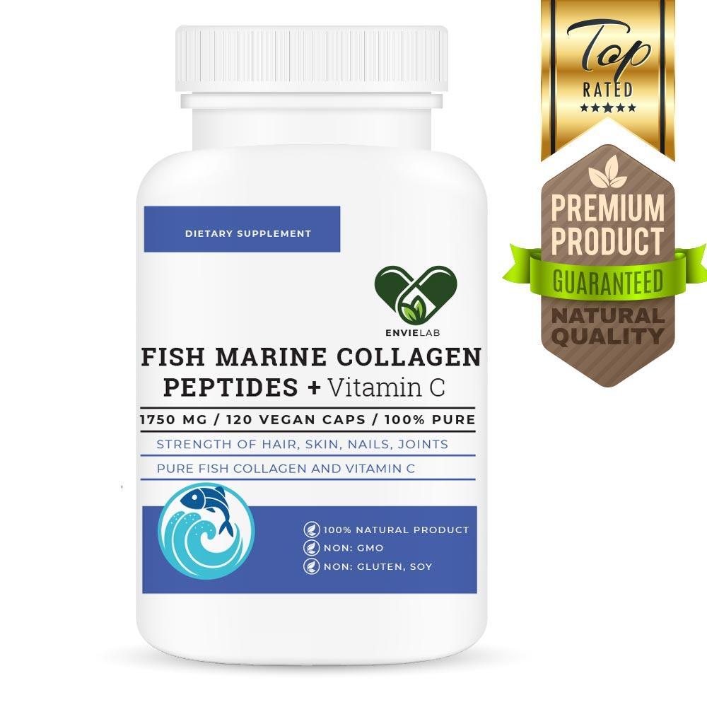 Морской рыбий коллаген FISH MARINE 1750 mg. Envie Lab (120 капсул)