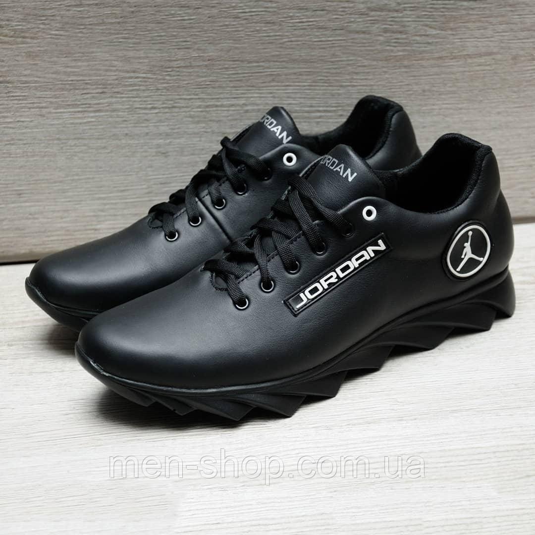 Кожаные мужские кроссовки в стиле Jordan черные