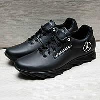 Кожаные мужские кроссовки в стиле Jordan черные, фото 1