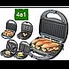 Сендвичница бутербродница Гриль вафельница орешница 4в1 1000 Вт со съемными формами Domotec MS-7704, фото 5