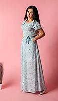 Платье женское в пол голубого цвета с поясом в тон полотна, фото 1