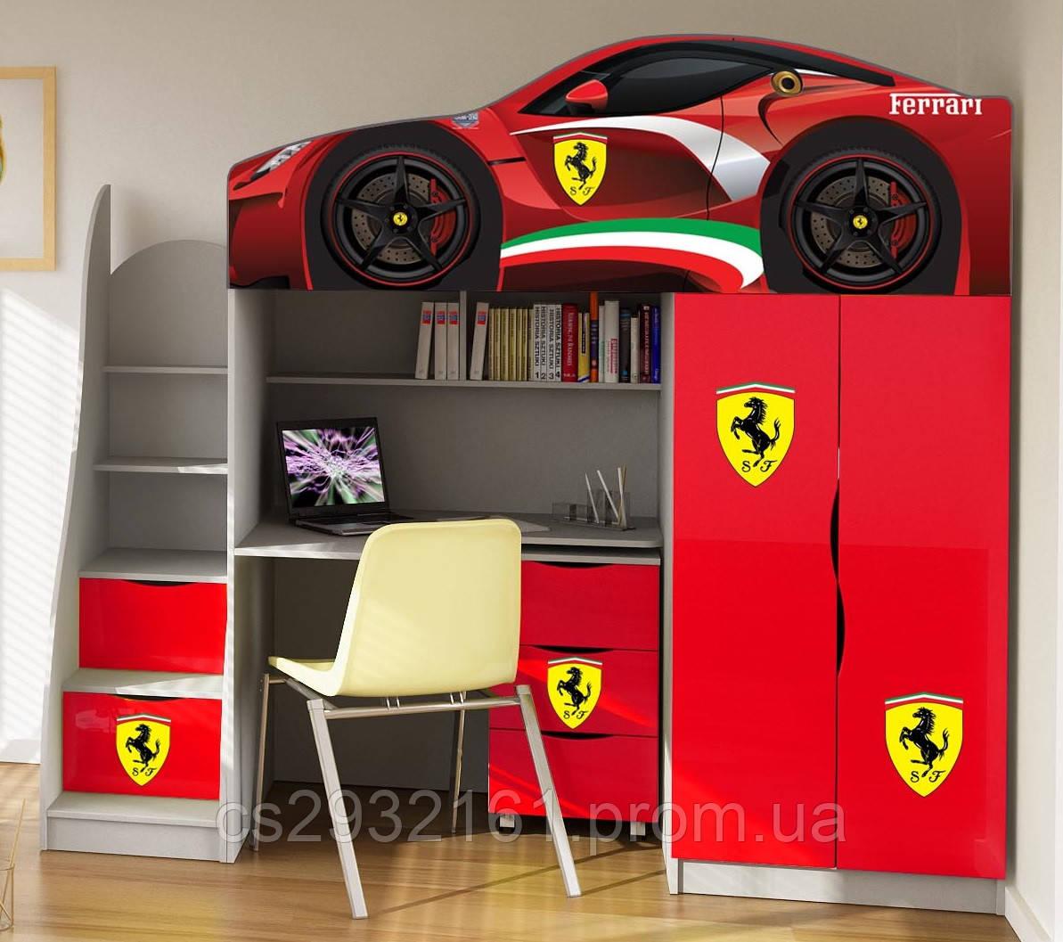 Кровать чердак машинка на выбор 170*80 серия Brand. Кровать с рабочей зоной. Кровать двухэтажная BMW Ferrari