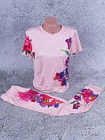 Спортивный костюм женский летний с сублимацией на ткани (розовый)
