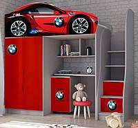 Кровать чердак машинка на выбор 170*80 серия Brand с тумбой. Кровать с рабочей зоной. Кровать двухэтажная BMW bmw