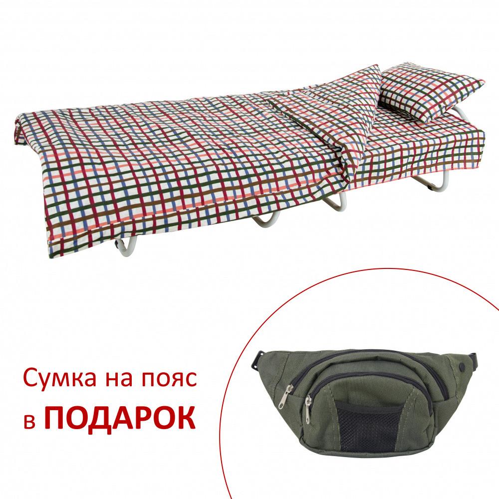Кровать на ламелях с постелью Vitan d25 мм бязь Цветы (Цветная мелкая клетка)