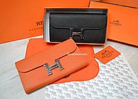 Женский кожаный кошелек Hermes Гермес брендовый в расцветках в коробке