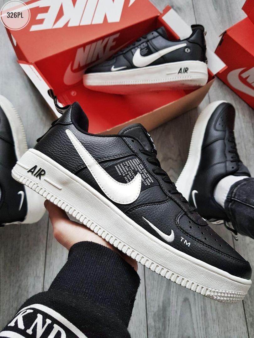 Мужские кроссовки Nike Air Force Low Black/White (326PL)