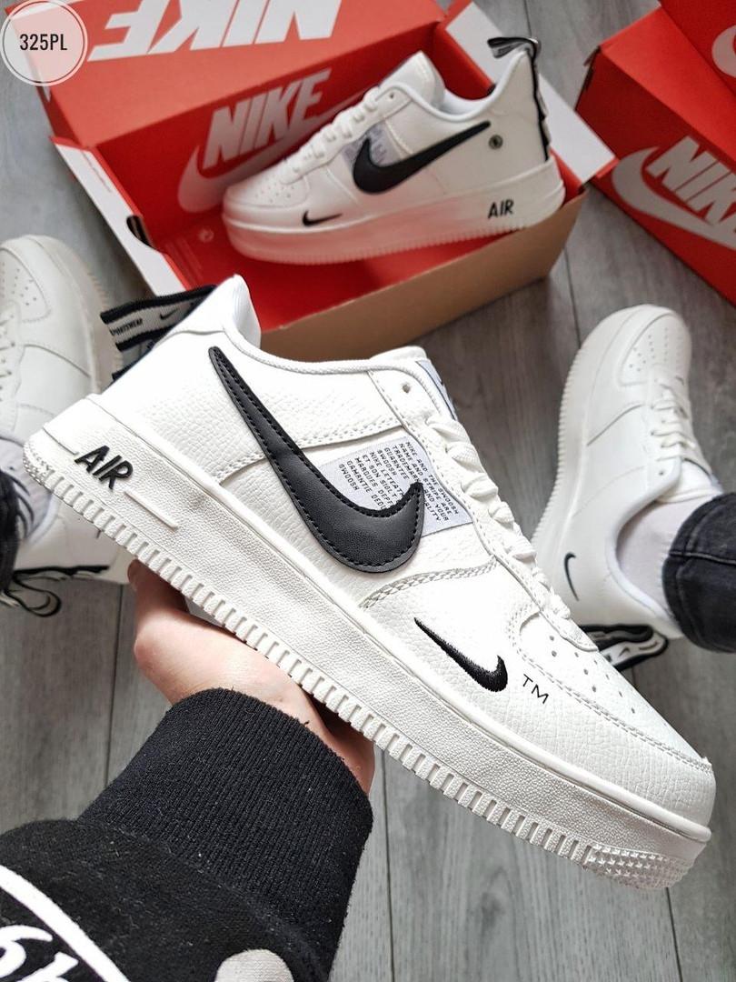 Мужские кроссовки Nike Air Force Low White/Black (325PL)