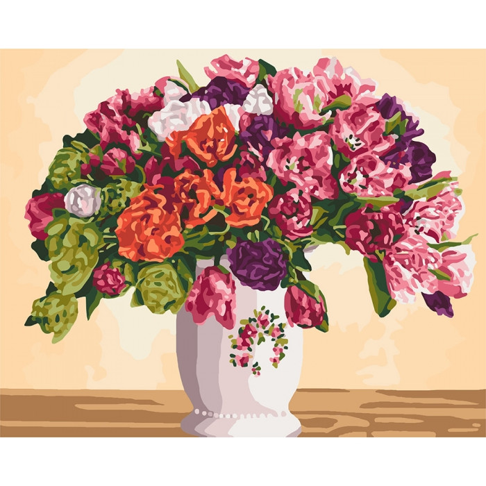 Картина по номерам Пышные тюльпаны KHO3075 Идейка 40 х 50 см (без коробки)
