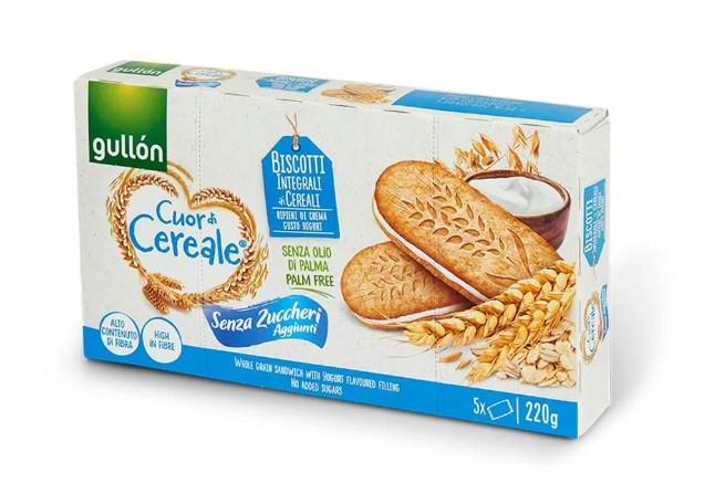 Печиво GULLON сендвічі Cuor di Cereale без цукру з йогуртом, 220 г