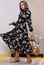 Расклешенное длинное черное платье с принтом (1319.4027 svt), фото 2