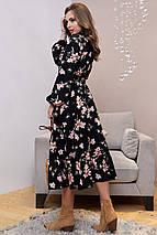 Расклешенное длинное черное платье с принтом (1319.4027 svt), фото 3
