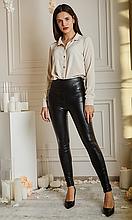 Стильные кожаные лосины без карманов высокая посадка цвет черный